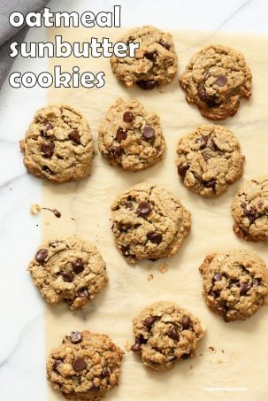 Oatmeal Chocolate Chip Sunbutter Cookies. Cinnamony Sunflower seed butter Oatmeal Cookies. These Soft Cookies come together really quickly and make a great snack or treat. Vegan Nut-free Recipe. Can be Gluten-free | VeganRicha.com