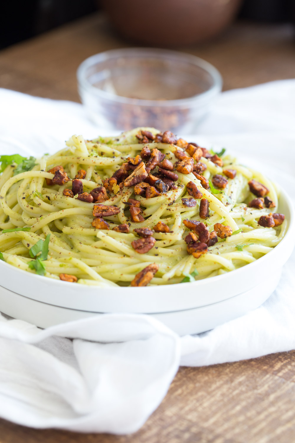 Avocado Pasta with Smoky Pecans. This 20 Minute Creamy Avocado Basil Sauce is great over spaghetti or zoodles. Serve with smoky spicy pecans for amazing flavor.  #Vegan #Soyfree #Recipe. Can be #nutfree. #veganricha | VeganRicha.com