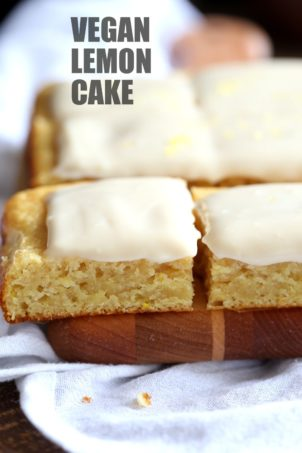 Vegan Lemon Cake with Cream Cheese Frosting. No added refined sugar in those soft and Delicious Lemon Cake! Make into cupcakes, loaf or a sheet pan cake. #Vegan #Soyfree #Recipe #lemoncake Can be nut-free #veganricha | VeganRicha.com