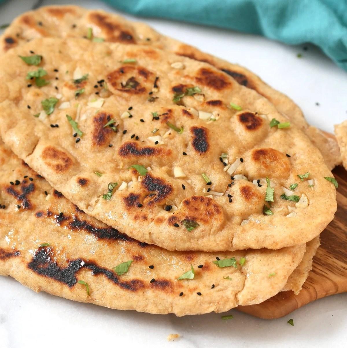 Whole Wheat Naan Bread. Soft, Amazing 100% Whole Grain Naan flatbread. Butter Naan Recipe. #Vegan #Soyfree #Nutfree #Recipe #veganricha | VeganRicha.com