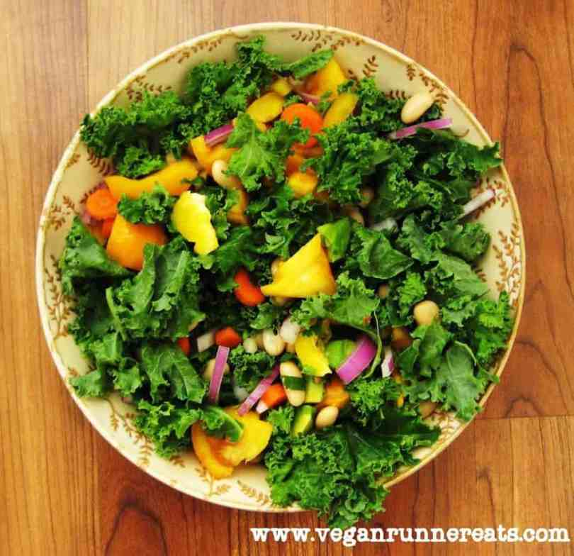 kale and cannellini bean salad with oil-free ginger dressing