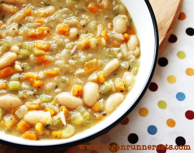 Cannellini Bean Soup and Cucumber-Tomato Salad