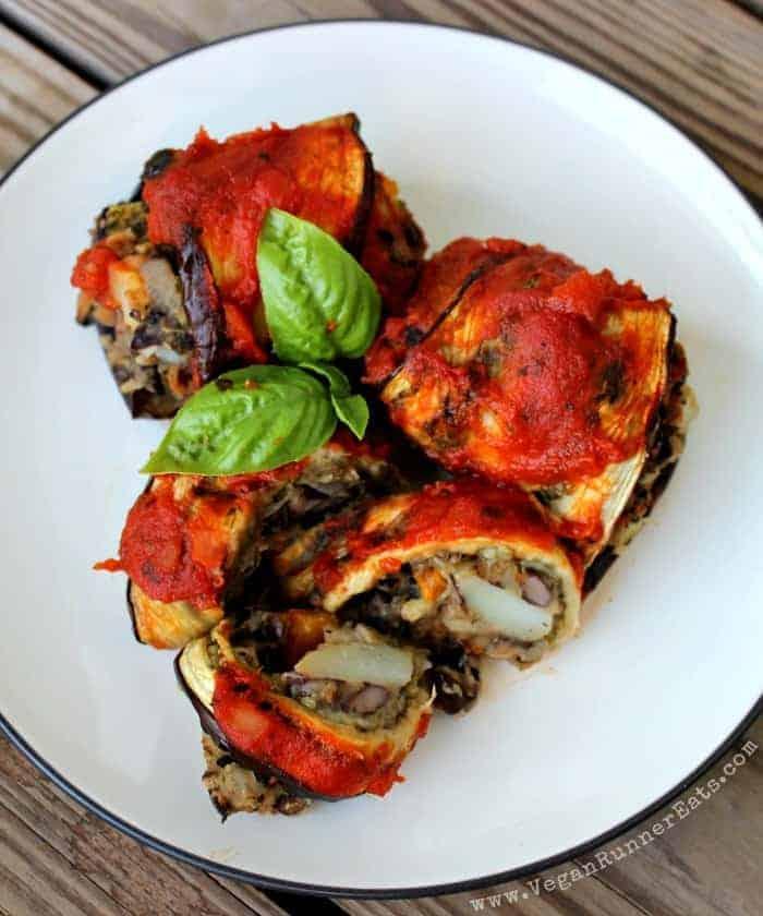 Eggplant Roll Ups with Black Bean-Potato Filling