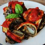 Eggplant Rollups with Black Bean-Potato Stuffing