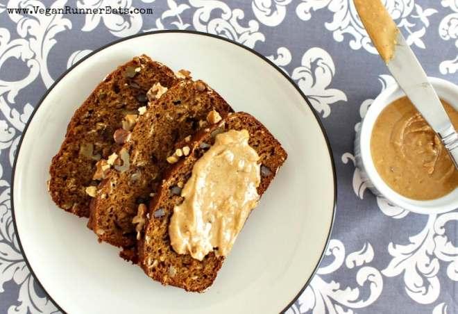 Vegan pumpkin walnut bread - oil free, egg free, refined sugar free