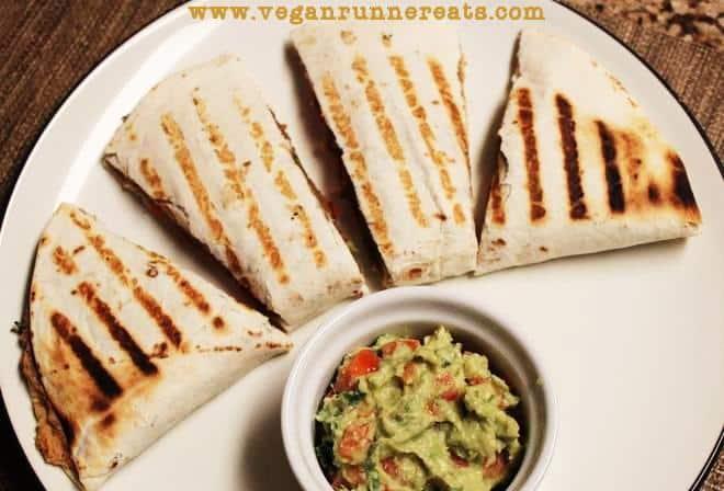 Veggie-Loaded Quesadillas (No Cheese!) and Easy Guacamole