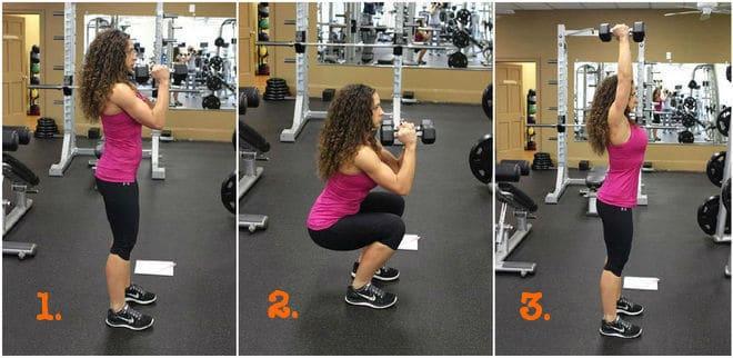 Squats with shoulder press