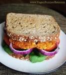 Sweet potato-chickpea vegan burger (main)