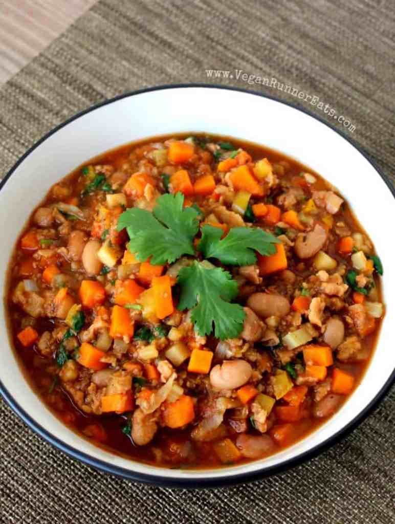 High-protein vegan chili with sweet potatoes and TVP - vegan chili recipe