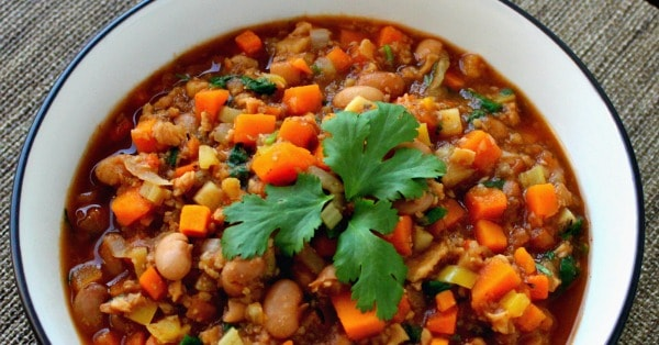 High-Protein Vegan Chili with Sweet Potatoes and TVP