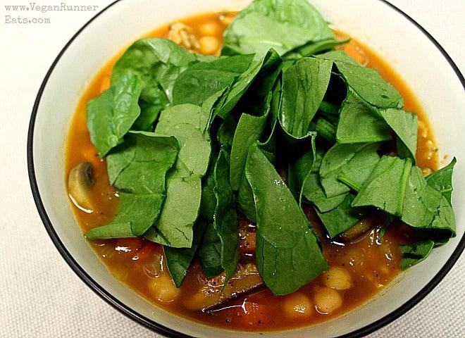 Vegan Chickpea and Shiitake Mushroom Soup - spinach optional