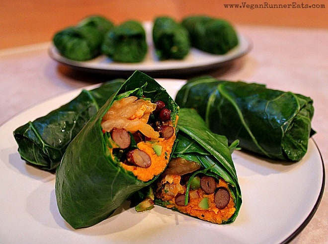 Vegan Collard Wraps with Kimchi and Sweet Potato Filling