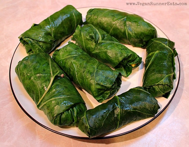 Vegan Collard Wraps with Kimchi and Sweet Potato Filling