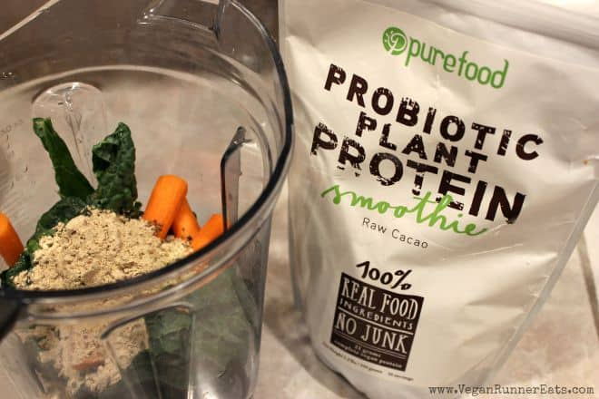 PureFood Probiotic Plant Protein in a smoothie