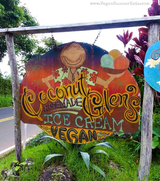 The sign at Coconut Glen's ice cream stand on the road to Hana, Maui, Hawaii