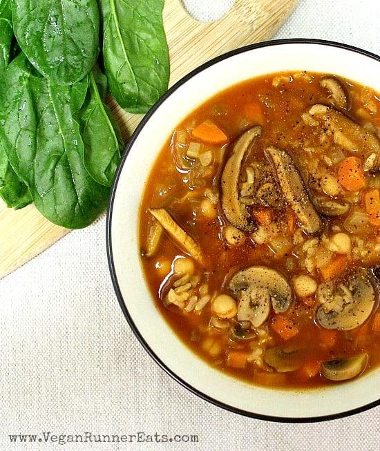 Vegan Mushroom-Barley Soup Recipe with Chickpeas