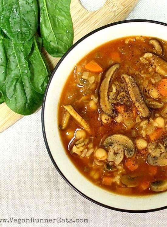 Hearty Vegan Chickpea and Shiitake Mushroom Soup Recipe