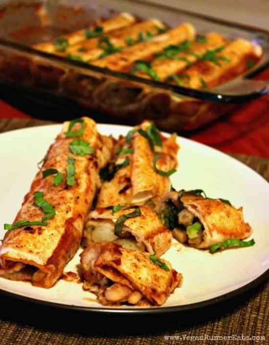 Vegan Enchiladas Recipe with White Bean and Potato Stuffing