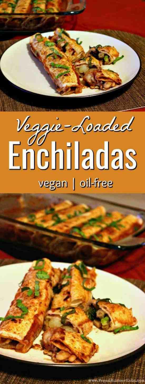 Veggie-loaded easy vegan enchiladas recipe - plant-based, vegan, oil-free enchiladas recipe