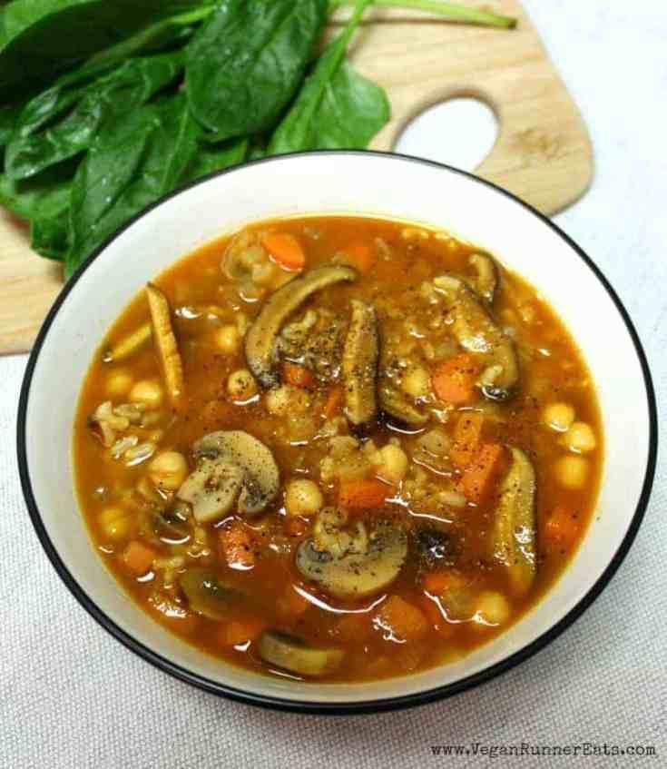 Hearty Vegan Shiitake Mushroom Soup with Chickpeas