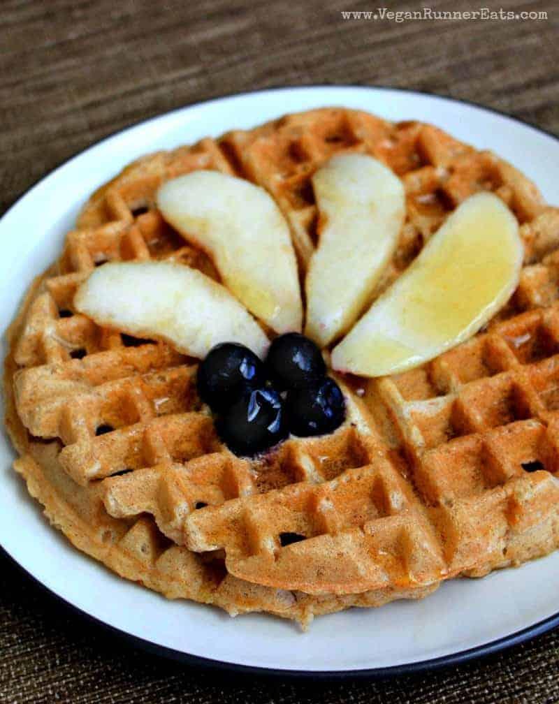 Easy vegan waffles recipe - oil-free plant-based waffles recipe