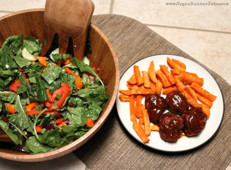 Homemade BBQ seitan with sweet potato fries and a salad