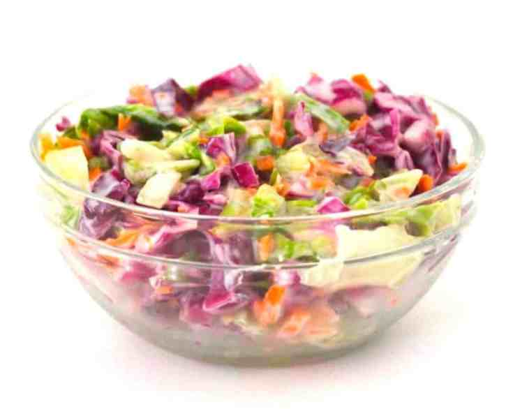 Vegan Coleslaw (Low-Carb + Sugar-Free + Low-Fat)