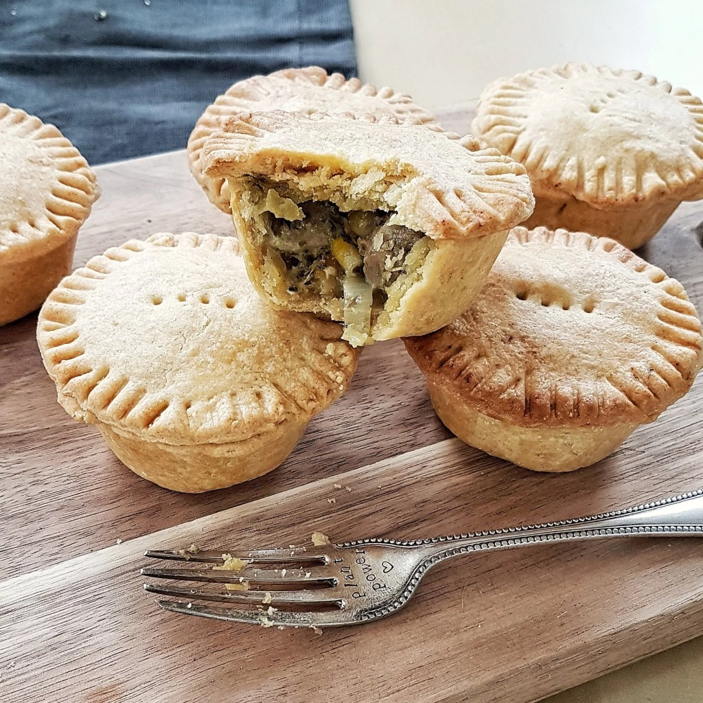"The perfect vegan picnic food - creamy and ""meaty"" chick'n and pesto pies"