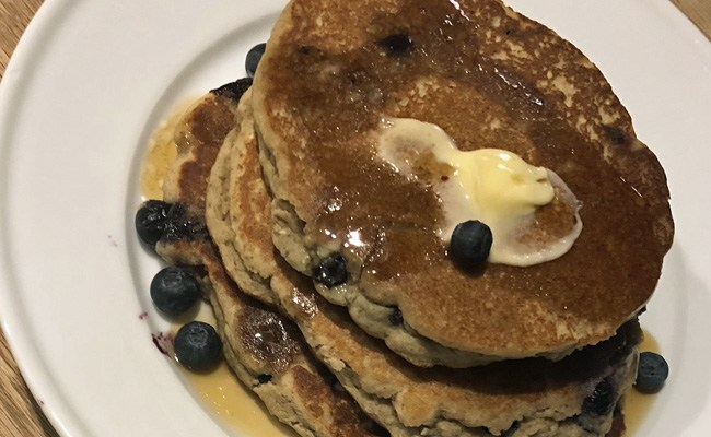 <i>Blue On Blue:</i> Oat & Millet Blueberry Pancakes with Blue Beauty Protein
