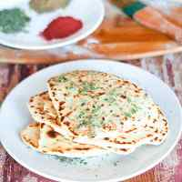 Vegan Garlic Naan No Yeast Made on Stovetop + Video
