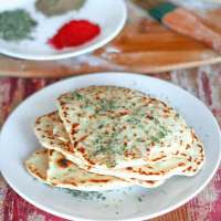 Vegan Garlic Naan Made on Stovetop No Yeast