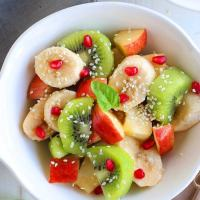 Healthy Winter Fruit Salad tossed with Lime-Maple Dressing