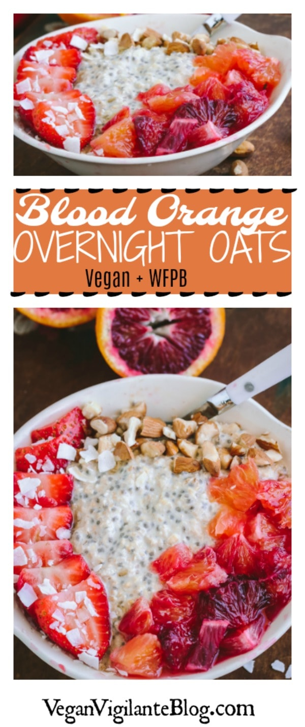 Pinterest Pin for Blood Orange Overnight Oats (V, WFPB)