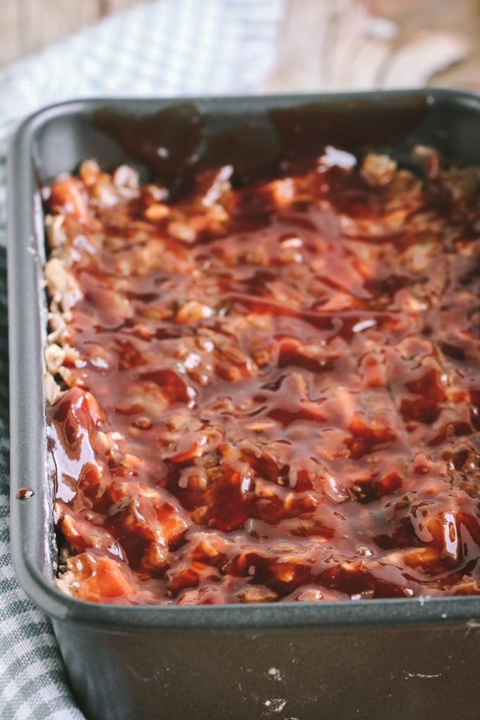 Picture of Maple Balsamic Glaze Brushed Over Top of Vegan Lentil Loaf