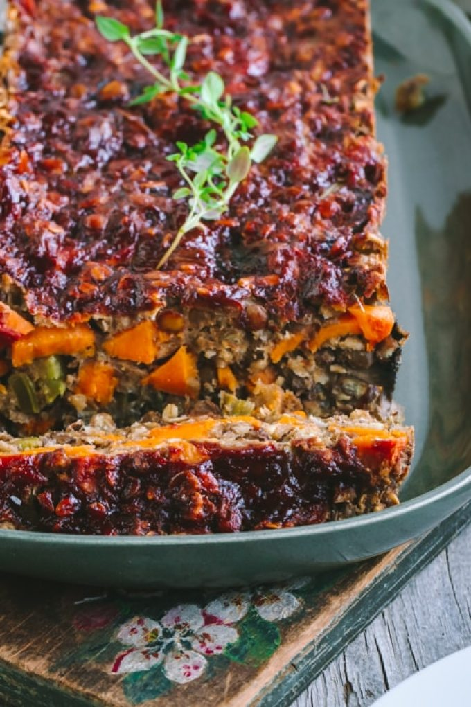 Slice of Savory Vegan Lentil Loaf with Maple Balsamic Glaze
