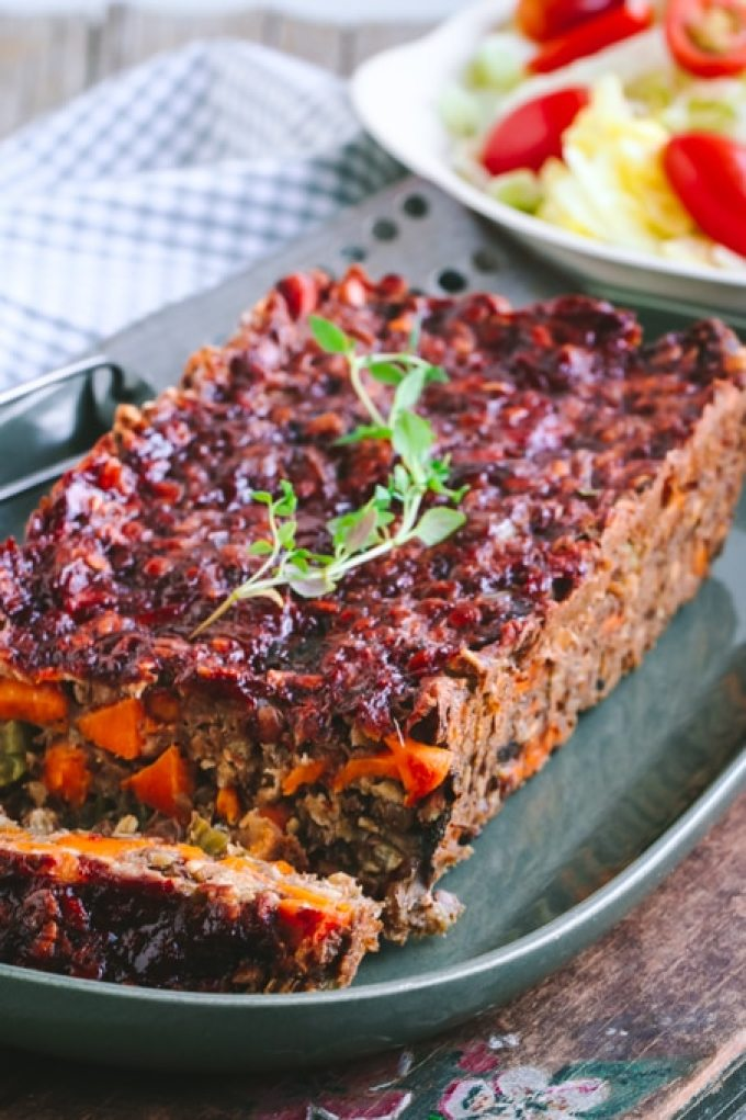 Picture of Side View Slice of Vegan Lentil Loaf on Green Plate