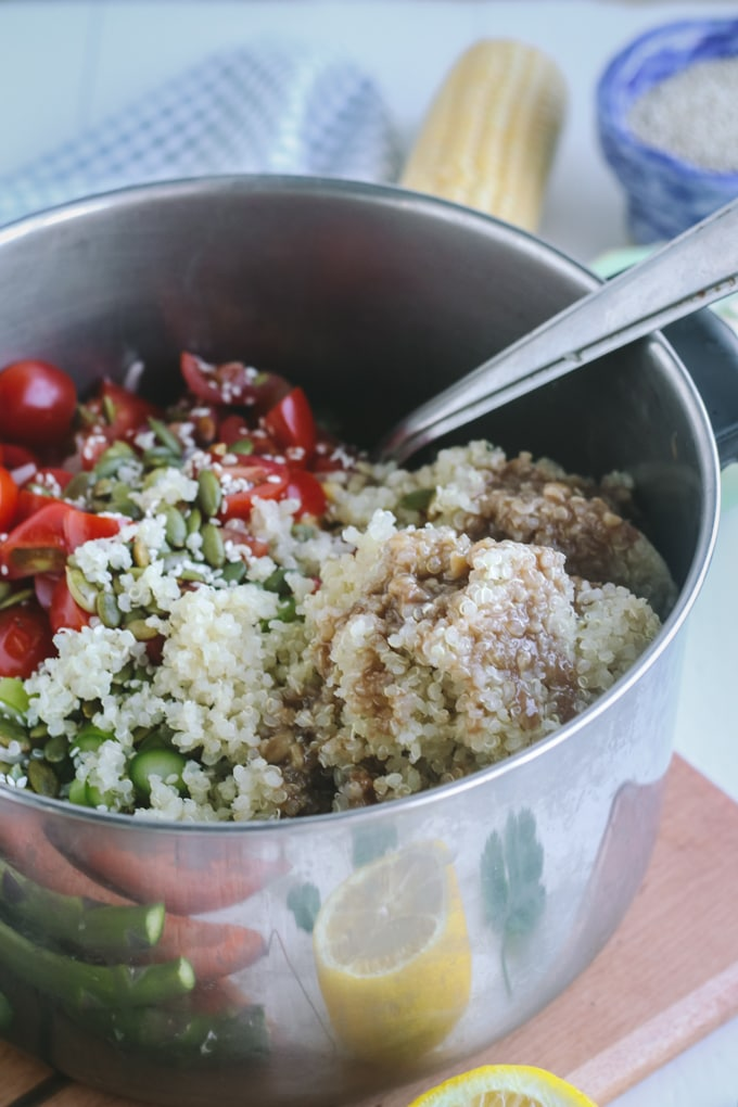 Picture of Quinoa Added to Vegetables & Seeds for Chilled Asparagus Salad