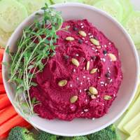 Roasted Beet Hummus Recipe (V, WFPB, GF)