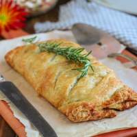 Vegan Mushroom Wellington with Sweet Potato & Caramelized Onions