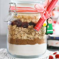 Cranberry White Chocolate Vegan Cookies in a Jar w/ Free Printable Labels
