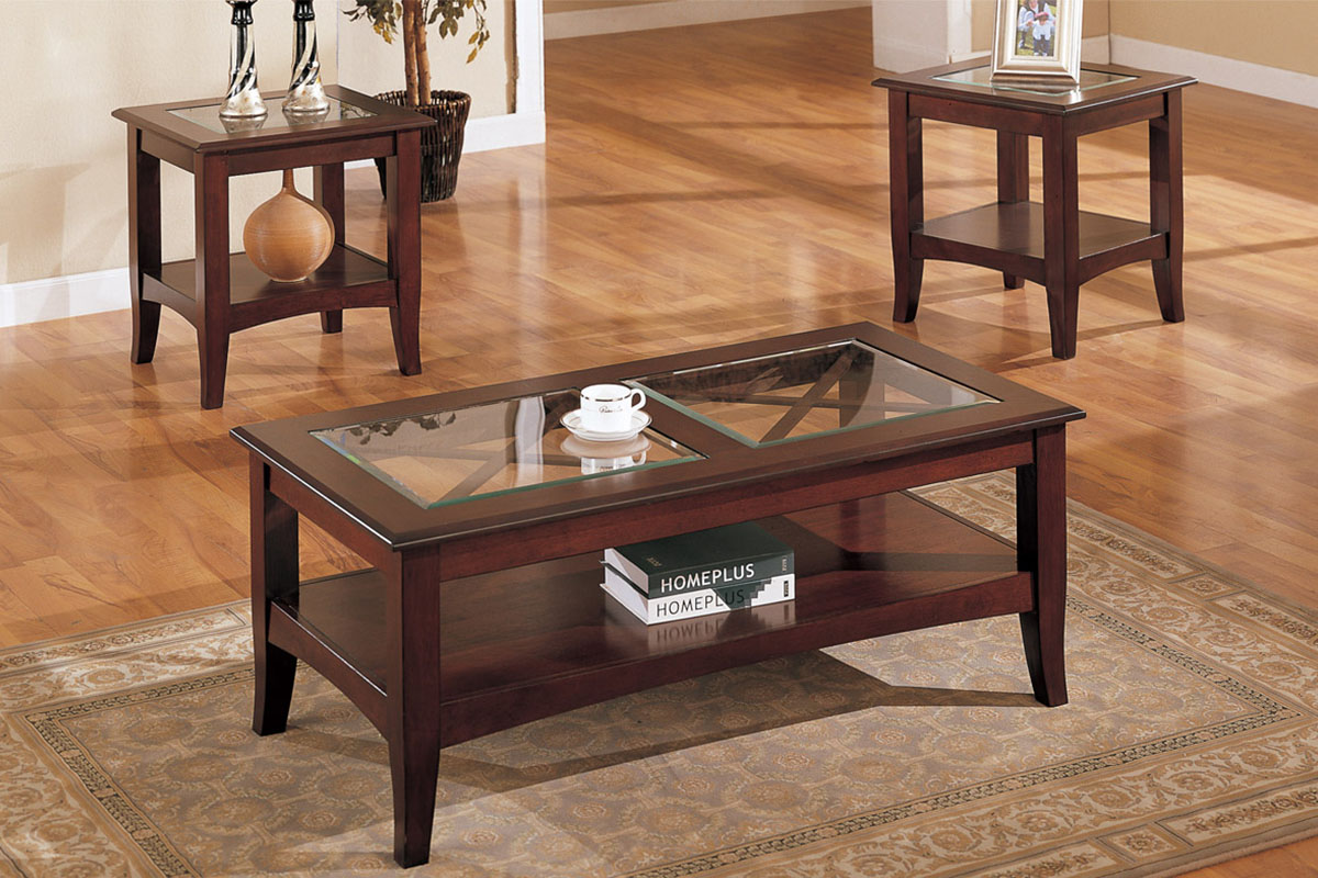 light brown 3pc coffee table set