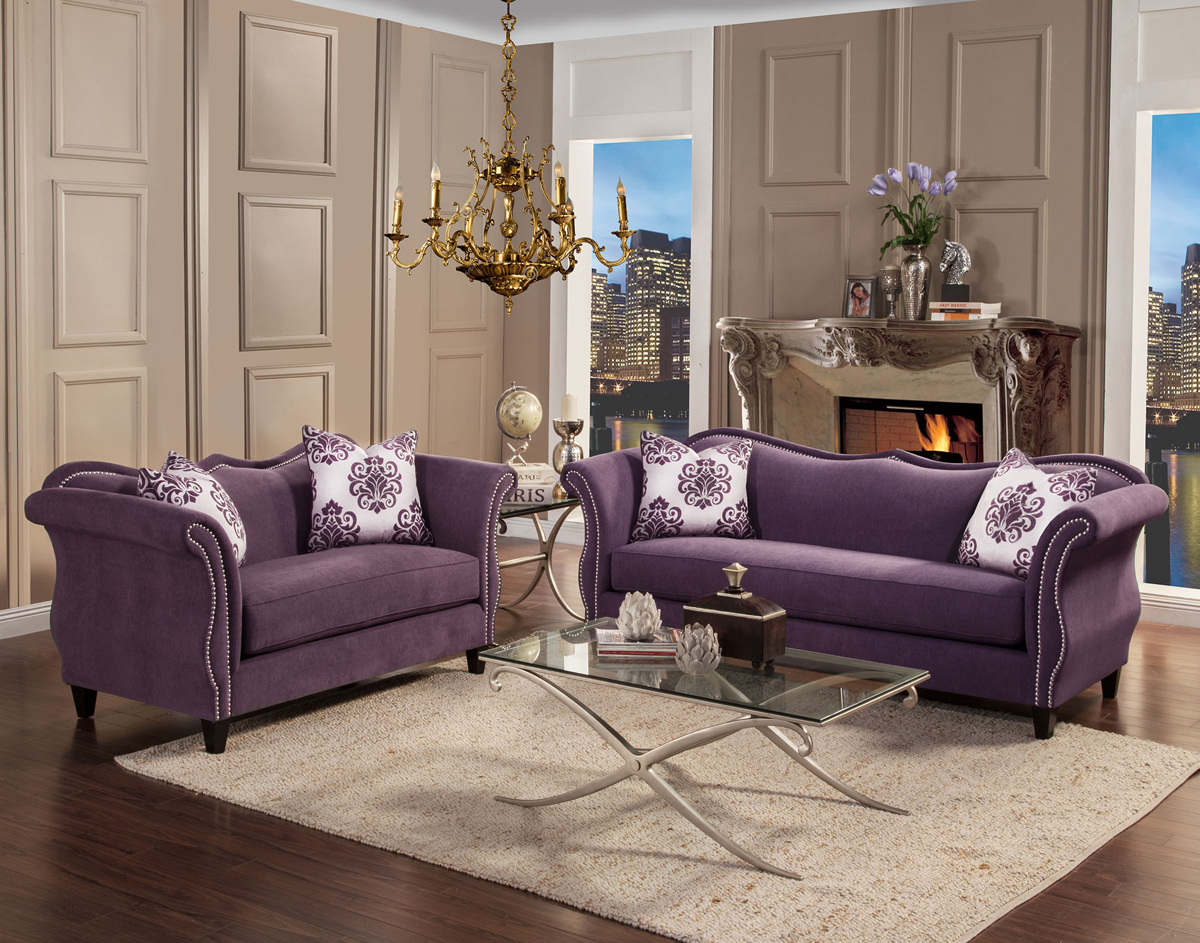 We may earn commission on some of the items you choose to buy. Zaffiro Lavender Fabric Living Room | Las Vegas Furniture ...