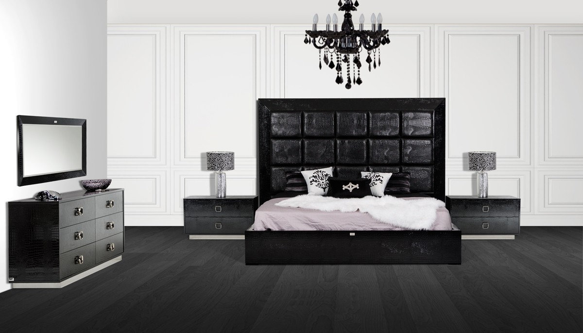 Victoria Black Crocodile Bedroom Set