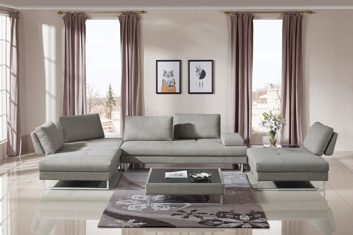 baxter modern grey fabric sectional sofa coffee table set