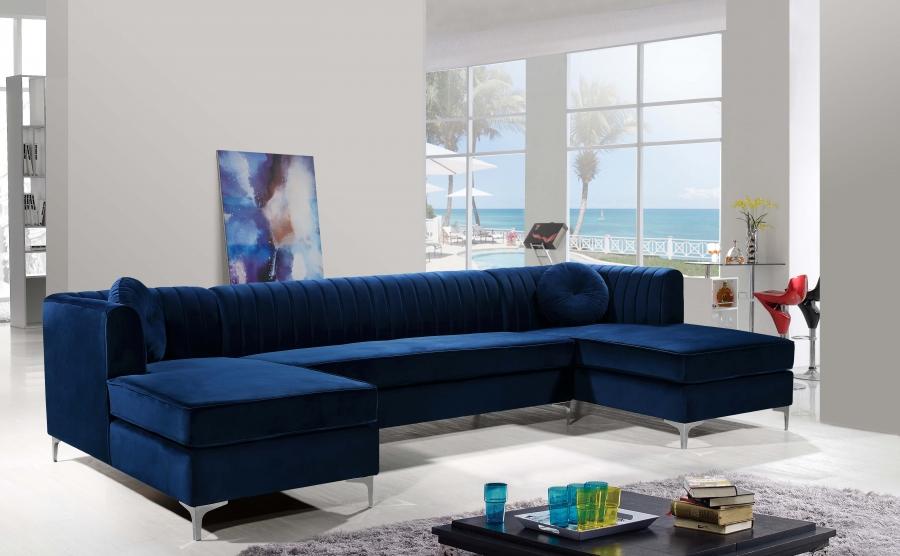 graham navy blue velvet chrome legs double chaise sectional
