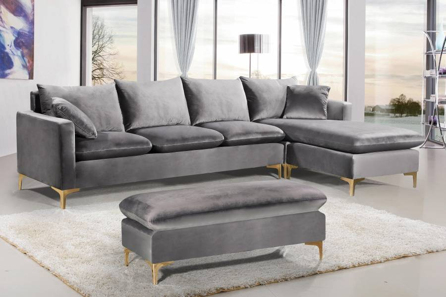 naomi grey velvet with gold legs sectional