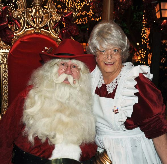 Cowboy Santa and Mrs. Claus appear weekly at Sam's Town Hotel and Gambling Hall in Mystic Falls Park