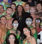 Steven Tyler (center) and the cast of Mystère by Cirque du Soleil at Treasure Island Las Vegas