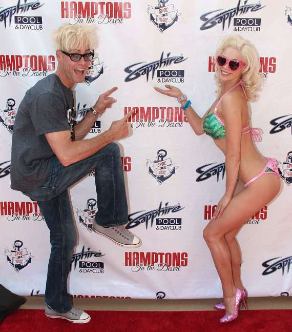 Magician Murray SawChuck with Chloe Crawford on red carpet at Sapphire Pool & Dayclub in Las Vegas