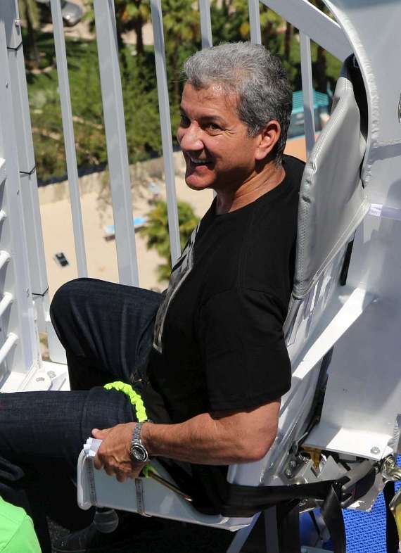 Bruce Buffer is strapped in and ready to ride the VooDoo Zip Line attraction at The Rio